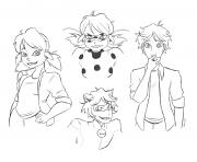 personnages demiraculous ladybug chat noir dessin à colorier