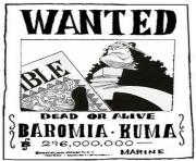 Coloriage one piece wanted baromia kuma dead or alive