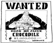 one piece wanted crocodile dead or alive dessin à colorier