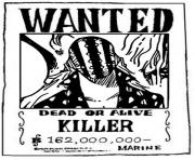 one piece wanted killer dead or alive dessin à colorier
