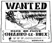 one piece wanted shanks le roux dead or alive dessin à colorier