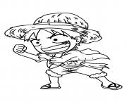 Coloriage luffy mini one piece manga