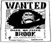 Coloriage one piece wanted brook dead or alive