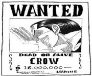 Coloriage one piece wanted crow dead or alive