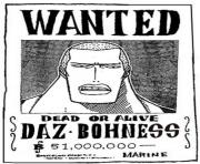 Coloriage one piece wanted daz bohness dead or alive