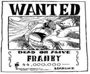 Coloriage one piece wanted franky dead or alive