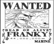 Coloriage one piece wanted franky marine dead or alive