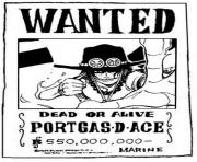 Coloriage one piece wanted portgasdace dead or alive