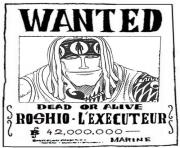 one piece wanted roshio lexecuteur dead or alive dessin à colorier