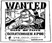 Coloriage one piece wanted scratchmen apoo dead or alive