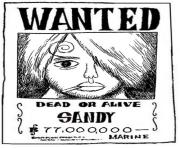 one piece wanted sandy dead or alive dessin à colorier