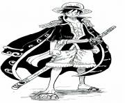 monkey d luffy cool outfit one piece manga dessin à colorier