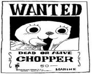one piece wanted chopper dead or alive dessin à colorier