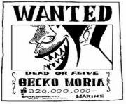 Coloriage one piece wanted gecko moria dead or alive