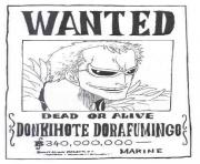 one piece wanted donkihote dorafumingo dead or alive dessin à colorier