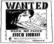 one piece wanted nico robin dead or alive dessin à colorier