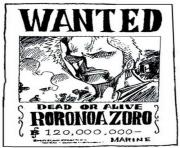 one piece wanted roronoa zoro dead or alive dessin à colorier