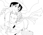 Coloriage luffy x zoro lineart  by lorenor zorro robin