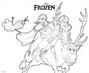 Anna Olaf Kristoff Reine des Neiges dessin à colorier
