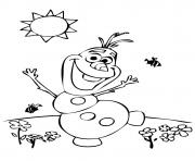 Olaf au soleil avec des fleurs et abeilles dessin à colorier