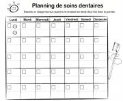 Coloriage calendrier planning soins dentaires dents dentiste dessin