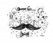 Coloriage journee fete des peres barbes hipster dessin