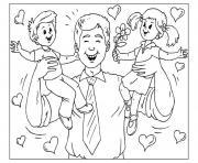 papa avec ses deux filles fete pere dessin à colorier