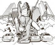 spider man au centre ville sur des voitures dessin à colorier