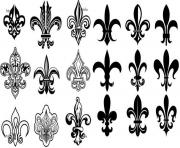 fleur de lis france louisiana quebec gothic traditional art deco dessin à colorier