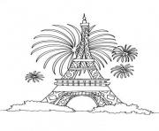 Coloriage fete nationale 14 juillet france tour eiffel