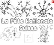 Coloriage fete nationale Suisse 1 aout