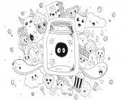 manga adulte kawaii doodle rachel dessin à colorier
