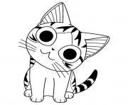 manga chat chi avec un sourire dessin à colorier