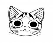 manga chat chi visage dessin à colorier