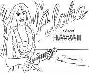 hawaienne fille avec ukulele danseuse vacance ete dessin à colorier