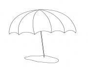 parasol de plage vacance ete dessin à colorier
