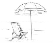 parasol avec chaise de plage vacance ete dessin à colorier