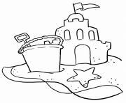 chateau de sable vacance ete dessin à colorier