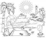 bord de mer ete vacance ete dessin à colorier
