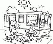 vacances dete tente roulotte ete dessin à colorier