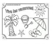 Coloriage plage bronsage en profitant du soleil dessin