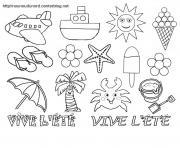 vive lete bonne vacances ete dessin à colorier
