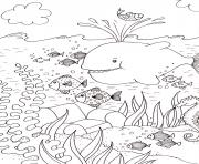 ocean mer vacances baleine poissons ete dessin à colorier