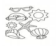 coquille de plage etoile de mer crabe lunette soleil dessin à colorier