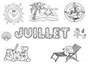 juillet bonnes vacances ete dessin à colorier