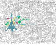 Coloriage xxl ville de paris france 2 dessin