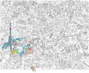 xxl ville de paris france dessin à colorier
