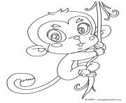 Coloriage bebe singe cute
