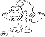 Coloriage Un singe avec sa queue dessin
