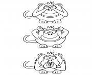 trois singes facile dessin à colorier